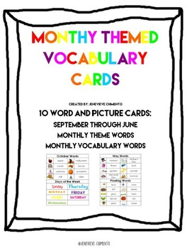 Monthly Themed Vocabulary Cards
