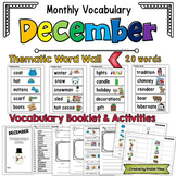 December Vocabulary Word Wall, Booklet, Writing Activities and BINGO