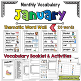 January Vocabulary Word Wall, Booklet, Writing Activities and BINGO