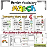 March Vocabulary Word Wall, Booklet, Writing Activities and BINGO