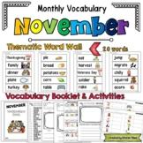 November Vocabulary Word Wall, Booklet, Writing Activities and BINGO