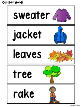 October Vocabulary: Word Wall, Booklet and Activities