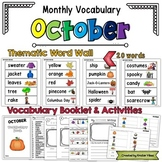 Monthly Vocabulary: October Word Wall and Booklet