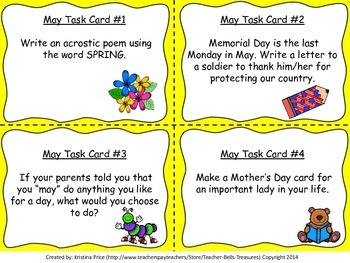 Monthly Themed Writing Task Cards May