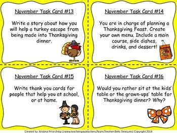 Monthly Themed Writing Task Cards- November
