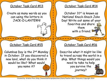 Monthly Themed Writing Task Cards- October