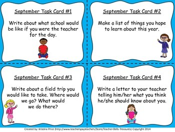 Monthly Themed Writing Task Cards- September