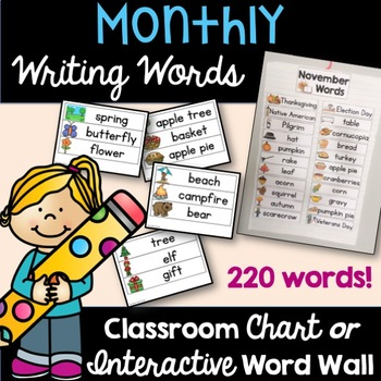 Monthly Themed Writing Words Chart of Interactive Word Wall September-June