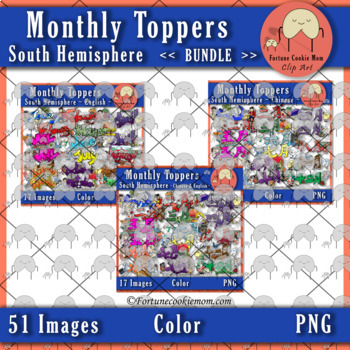 Monthly Toppers *Bundle* Clip Art {South Hemisphere}