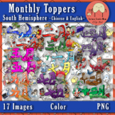 Monthly Toppers Clip Art {South Hemisphere}: Chinese & English