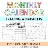 Monthly (Tracing) Calendar (FREEBIE with BONUS!)