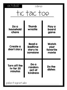 Monthly Un-homework Tic Tac Toe