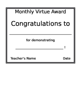 Monthly Virtue Awards