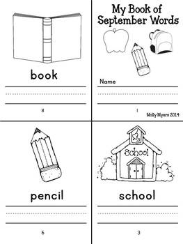 Monthly Vocabulary Books - Kindergarten writing skills for the year!