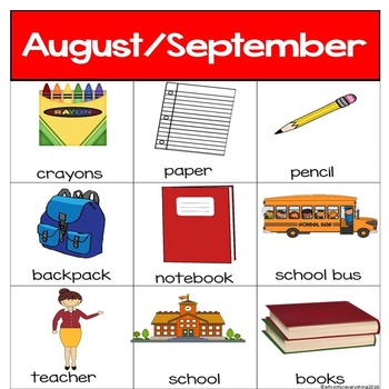 Monthly Vocabulary Cards