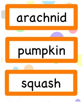 Monthly Vocabulary Cards - September through June!