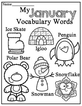 Monthly Vocabulary Printables