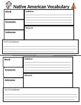Monthly Vocabulary Templates