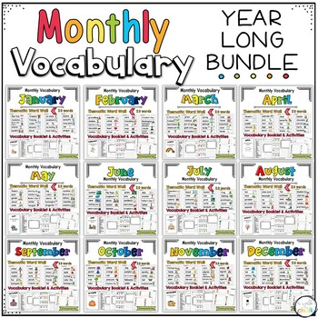 Monthly Vocabulary- A Year Long BUNDLE
