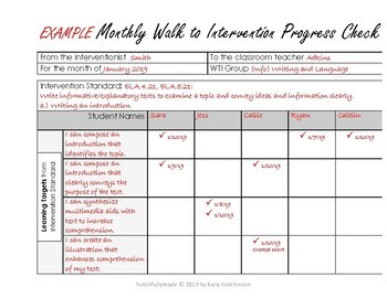 Monthly Walk to Intervention Progress Check on Learning Targets
