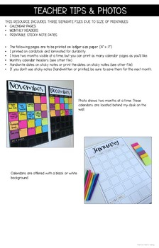Monthly Wall Calendar Using Sticky Notes