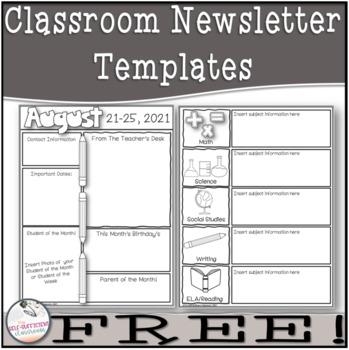 weekly classroom newsletter template teaching resources teachers