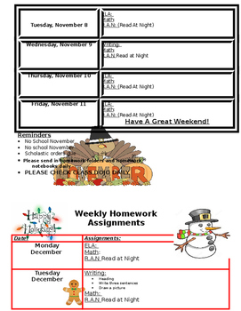 Monthly/Weekly Homework Format EDITABLE