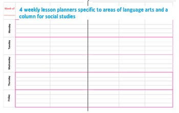 Monthly/Weekly Lesson Planner for Language Arts and Social Studies Teachers