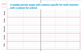 Monthly/Weekly Lesson Planner for Math and Science Teachers