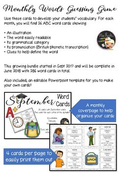 Monthly Word Cards - Growing Bundle