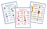 Monthly Word Lists!