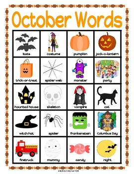 Monthly Word Charts