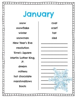 Monthly Word Lists and Posters