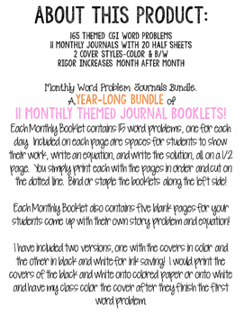 Month To Month Word Problem Journal Bundle