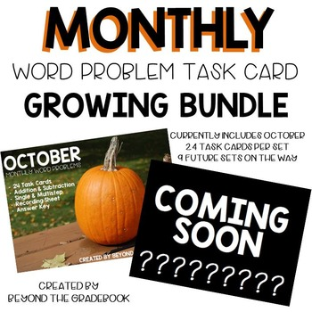 Monthly Word Problem Task Cards: Growing Bundle