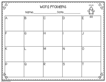 Monthly Word Problems- February