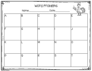 Monthly Word Problems- November