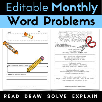 Monthly Word Problems {Editable} August Through June
