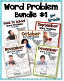 Monthly Word Problems for Second Grade Bundle # 1