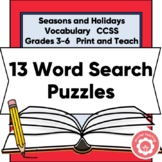 12 Word Search Puzzles: Seasons And Holidays CCSS Grades 3-6