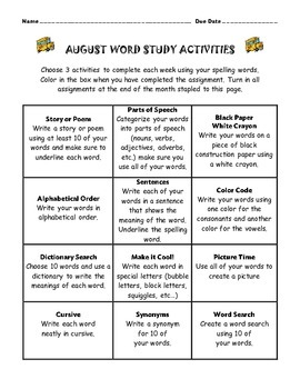 Spelling Choice Boards for August, September, and October