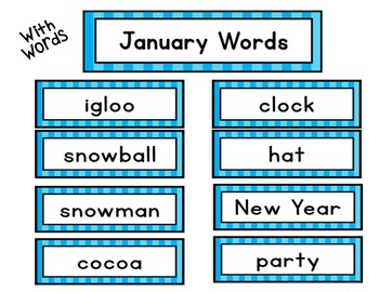 Monthly Word Wall