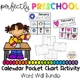 Monthly Word Wall Calendar Pocket Chart Activity Bundle