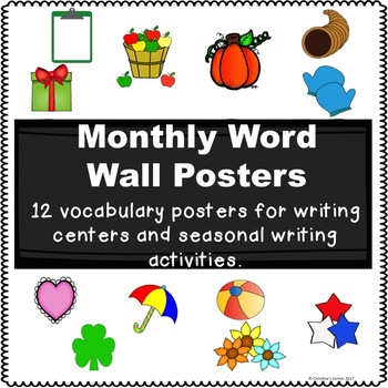 Word Wall Posters 12 months Writing Center Individual 1st 2nd 3rd Grades