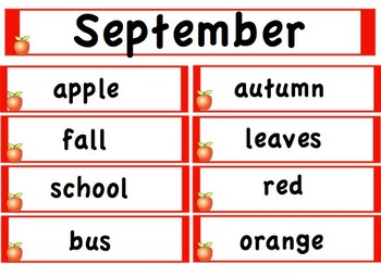 Monthly Word Wall Words