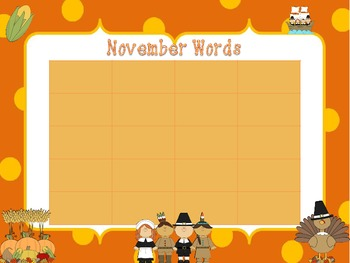 Monthly Word Wall Words (Vocabulary Words)