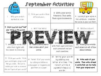 Monthly Word Work Activities (No Worksheets)