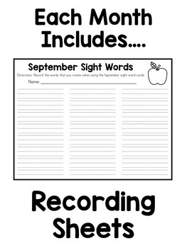 Word Work Cards - Monthly Themes