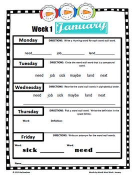 Monthly Word Work:  January