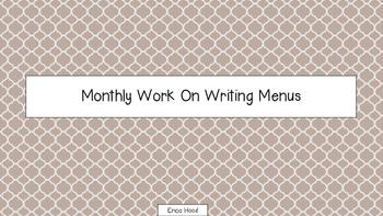 Work On Writing Menus